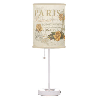 KRW Vintage Style Paris Rose and Eiffel Tower Lamp