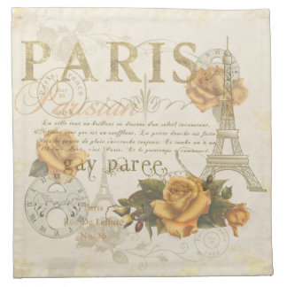 KRW Vintage Style Paris Rose Eiffel Tower Napkin
