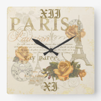KRW Vintage Style Paris Roses Eiffel Tower Clock