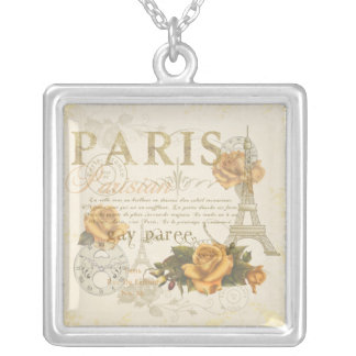KRW Vintage Style Paris Roses Eiffel Tower Silver Plated Necklace