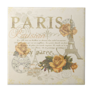 KRW Vintage Style Paris Roses Eiffel Tower Tile
