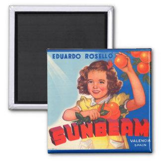 KRW Vintage Sunbeam Orange Crate Label Magnet
