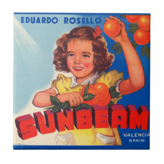 KRW Vintage Sunbeam Orange Crate Label Magnet Tile