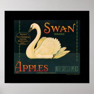 KRW Vintage Swan Apple Fruit Crate Label Poster