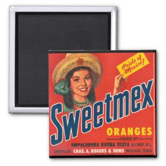 KRW Vintage Sweet-Mex Orange Crate Label Magnet
