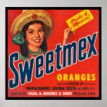 KRW Vintage Sweet-Mex Oranges Crate Label Poster