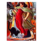 KRW Vintage Tricky Witch Halloween Post Card