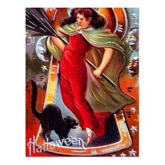 KRW Vintage Tricky Witch Halloween Postcard