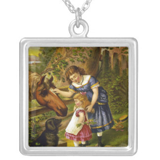 KRW Vintage Two Young Girls 1873 Silver Necklace
