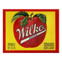 KRW Vintage Wilko Apple Crate Label Poster