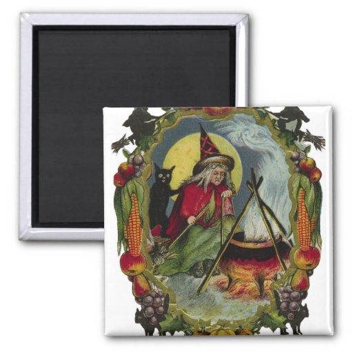 Crow And Cauldron Vintage Halloween: KRW Vintage Witch And Cauldron Halloween Magnet