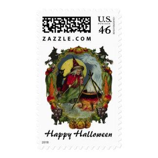 KRW Vintage Witch and Cauldron Halloween Stamp