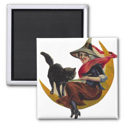 KRW Vintage Witch on the Moon Halloween Magnet