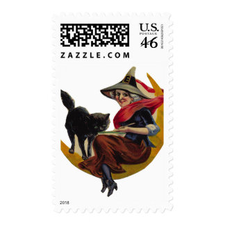KRW Vintage Witch on the Moon Halloween Stamp