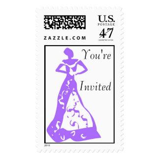 KRW Violet Bride Invitation Shower Wedding Stamp