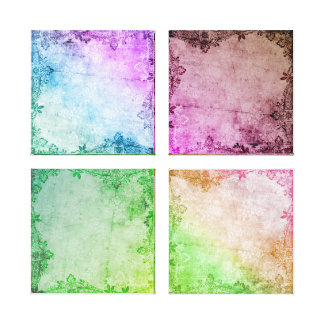 KRW Watercolor Floral Fatasy Quad Wrapped Canvas
