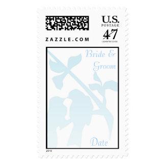 KRW Wedding Doves Blue Custom Wedding Stamp