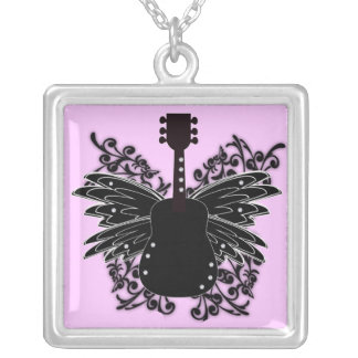 KRW Winged Guitar Rock Music Necklace