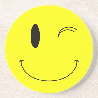KRW Winking Smilie Face Coaster