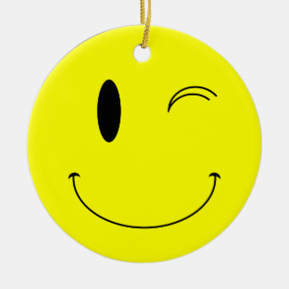 KRW Winking Smilie Face Double Sided Ornament