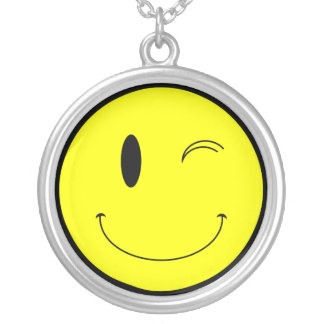 KRW Winking Smilie Face Sterling Silver Necklace