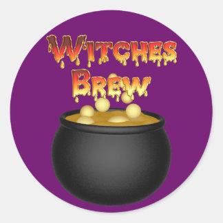 KRW Witches Brew Cauldron Halloween Classic Round Sticker