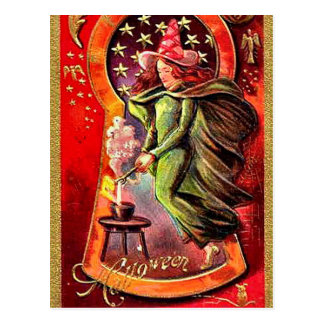 KRW Witches Brew Vintage Halloween Postcard