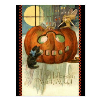 KRW Witches Wand Vintage Halloween Postcard