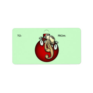 KRW  Xmas Ornament with Holly To and From Label Address Label