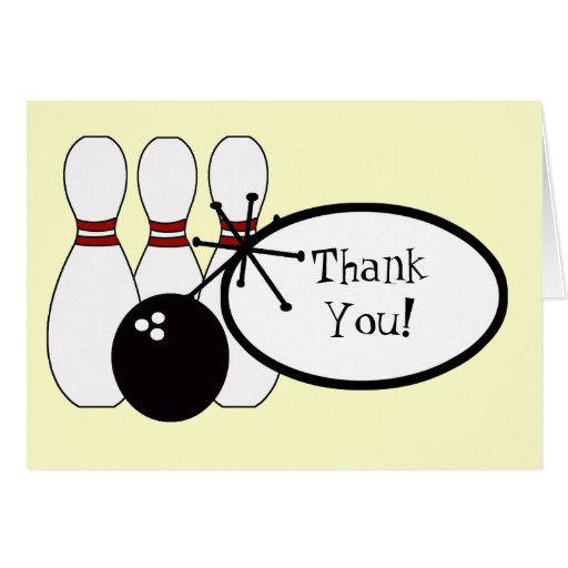 Krw Yellow Bowling Thank You Card Zazzle