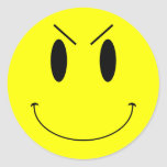 KRW Yellow Evil Smiley Face Classic Round Sticker