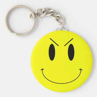 KRW Yellow Evil Smiley Face Keychain