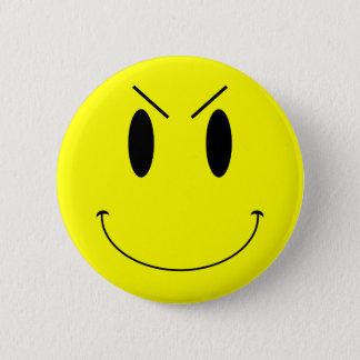 KRW Yellow Evil Smiley Face Pinback Button