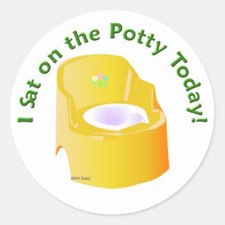 KRW Yellow I Sat on the Potty Training Reward Classic Round Sticker