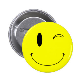 KRW Yellow Winking Smiley Face 2 Inch Round Button