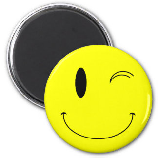 KRW Yellow Winking Smiley Face 2 Inch Round Magnet