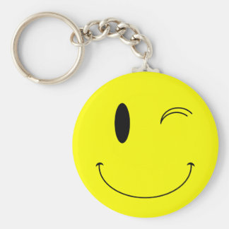 KRW Yellow Winking Smiley Face Key Chain