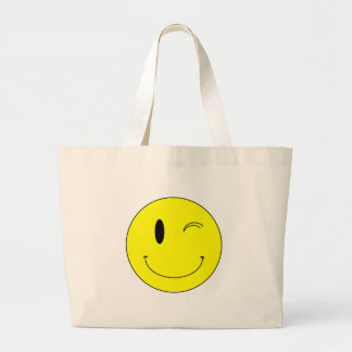 KRW Yellow Winking Smiley Face Large Tote Bag