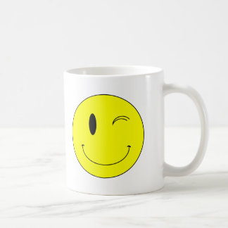 KRW Yellow Winking Smiley Face Coffee Mugs