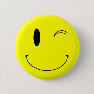 KRW Yellow Winking Smiley Face Pinback Button