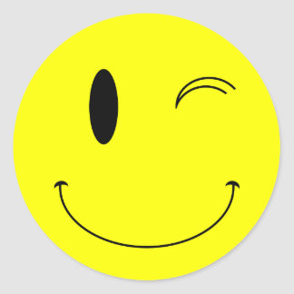 KRW Yellow Winking Smiley Face Classic Round Sticker