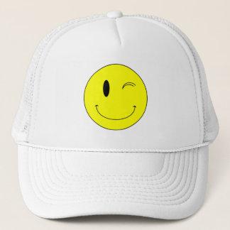 KRW Yellow Winking Smiley Face Trucker Hat
