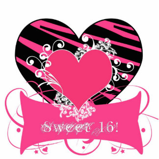 KRW Zebra Black and Pink Sweet 16 Cake Top Cutout