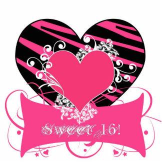 KRW Zebra Black and Pink Sweet 16 Centerpiece Cutout