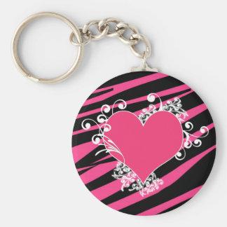 KRW Zebra Heart Swirls Pink and Black Name Keyring Keychain