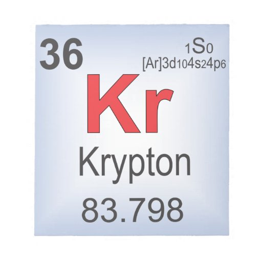 Krypton Individual Element of the Periodic Table Notepads from Zazzle.