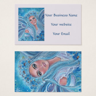 Krysta Fairy floral blue business cards by Renee L