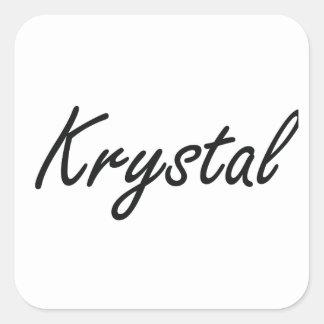 Krystal artistic Name Design Square Sticker