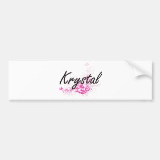 Krystal Artistic Name Design with Flowers Car Bumper Sticker