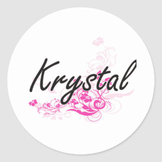 Krystal Artistic Name Design with Flowers Classic Round Sticker